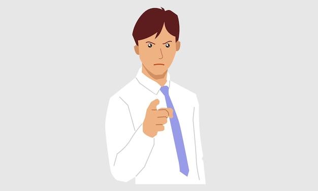Młody biznesmen, wskazując palcem