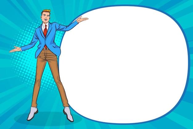 Młody biznesmen wskazujący rękę pokazującą coś w stylu pop-artu w stylu komiksów pop-art