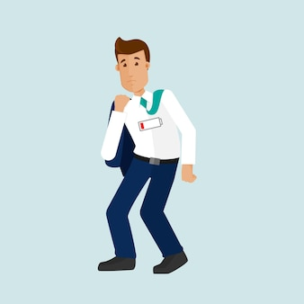 Młody biznesmen zmęczony pracą, potrzebuje urlopu, pracoholik, rozładowany akumulator, brak energii. mężczyzna jest zmęczony po długim dniu w pracy. ilustracja wektorowa w stylu płaski.