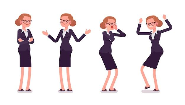 Młody bizneswoman w formalnej odzieży wyraża negatywne emocje, różne pozy