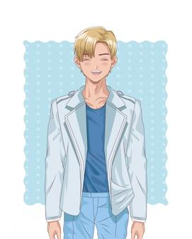 Młody blond chłopiec hentai stylu stylu