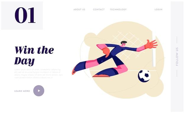 Młody bramkarz piłki nożnej w ruchu skoku z boku próbuje złapać piłkę.