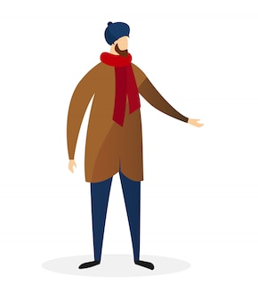 Młody brodaty mężczyzna nosi nowoczesny zwykły płaszcz zimowy