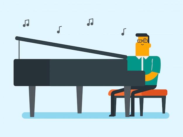 Młody caucasian biały człowiek bawić się pianino.