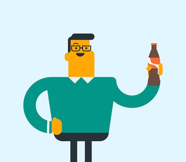 Młody caucasian mężczyzna pije sodę.