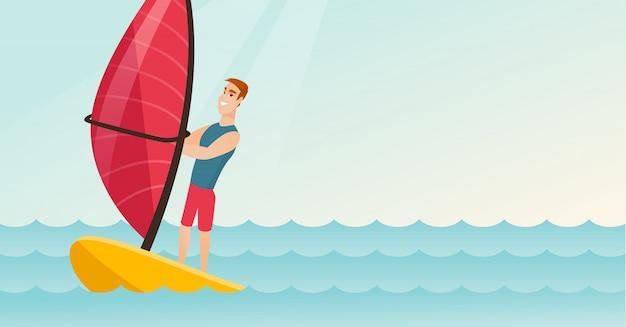 Młody caucasian mężczyzna windsurfing w morzu