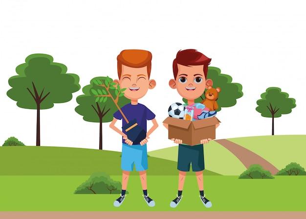 Młody chłopak avatar karton charakter