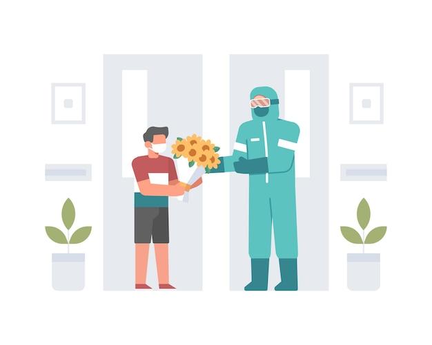 Młody chłopak dając bukiet kwiatów oficerowi medycznemu lub lekarzowi noszącemu hazmat lub środki ochrony osobistej na ilustracji szpitalu