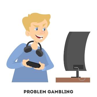 Młody chłopak grając w gry komputerowe z kontrolerem. uzależnienie od gier. ilustracja w stylu kreskówki