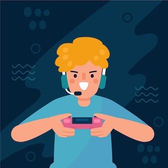 Młody chłopak, grając w gry wideo