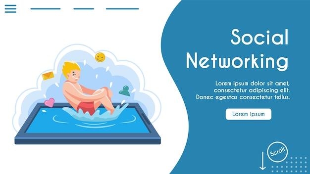 Młody chłopak skacze bombę do basenu. mężczyzna wskakuje na ekran tabletu, plamy fal, ikony emoji. metafora sieci społecznościowych, komunikacji online, pływającej cyberprzestrzeni