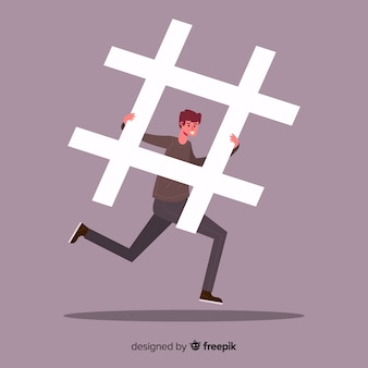 Młody chłopak z hashtag symbolem