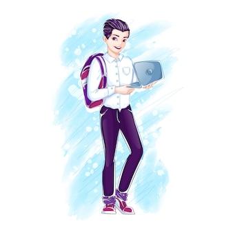 Młody chłopak z plecakiem trzyma otwartego laptopa.