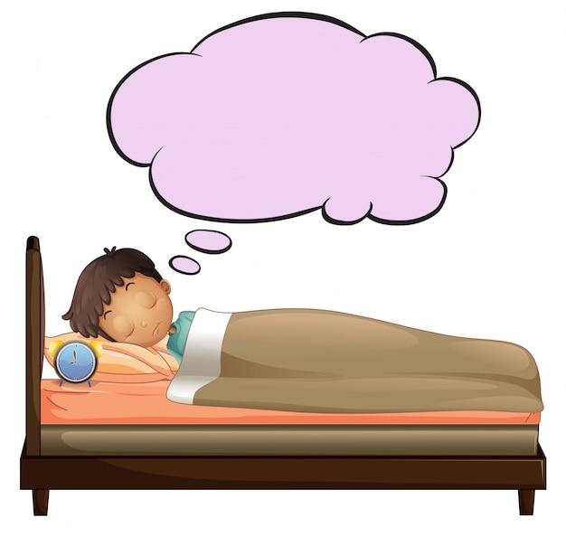 Młody chłopak z pustą myślą podczas snu