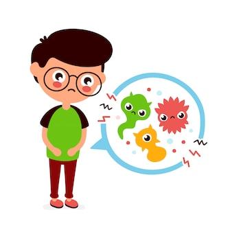 Młody chory cierpiący na bóle brzucha, zatrucia pokarmowe, problemy żołądkowe, bóle brzucha. ilustracja kreskówka płaski. medycyna, bakterie, zarazki