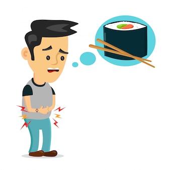 Młody cierpiący smutny człowiek jest głodny. myśli o jedzeniu, fast foodach, sushi rollach. ilustracja kreskówka mieszkanie. pojedynczo na białym tle. głodny, koncepcja sushi