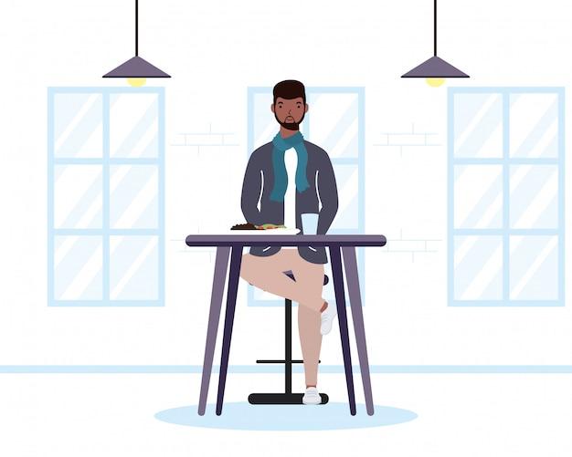 Młody człowiek afro jadł w restauracji charakter ilustracja projektu
