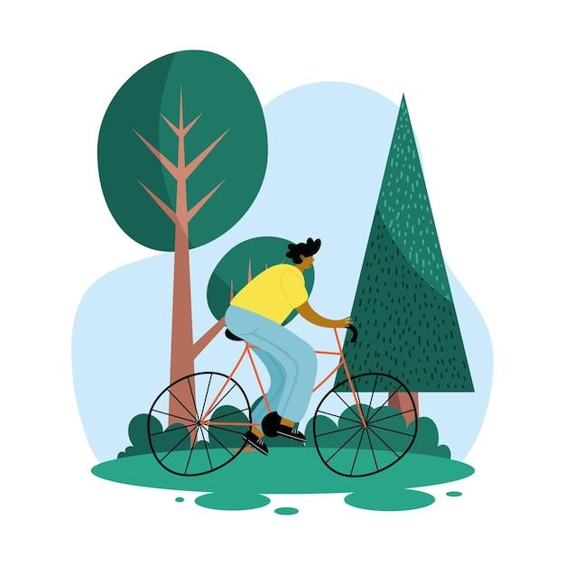 Młody człowiek afro w projektowaniu ilustracji sceny parku rowerowego