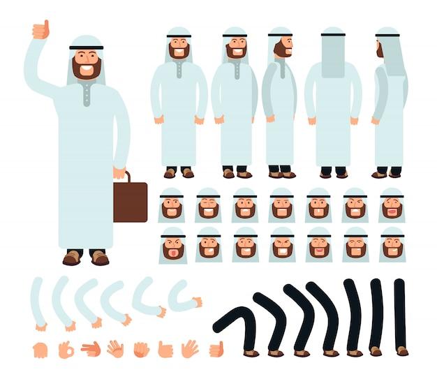 Młody człowiek arabski w tradycyjne stroje islamskie arabii saudyjskiej. zestaw do tworzenia postaci z twarzą w różnych emocjach i częściach ciała