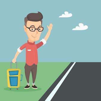 Młody człowiek autostopem ilustracji wektorowych.