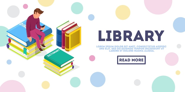 Młody człowiek bez twarzy siedzi otoczony stosami książek i patrzy na smartfona. edukacja online, biblioteka multimediów, koncepcja izometrycznego wektora e-learningowego dla sieci, strona docelowa. miejsce na tekst, miejsce na kopię.