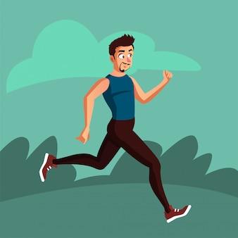 Młody człowiek biegnie rano, aby spalić swój tłuszcz