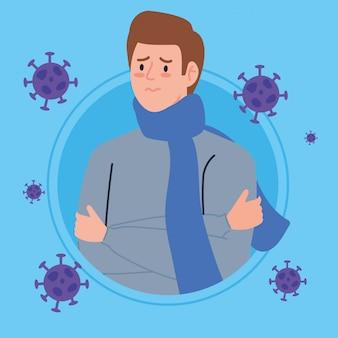 Młody człowiek chory na koronawirusa 2019 ncov