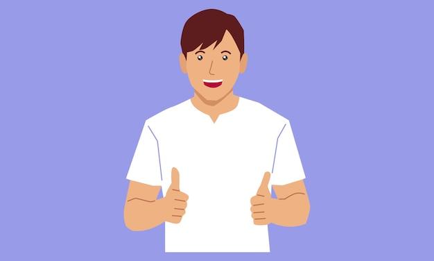 Młody człowiek co kciuki znak obiema rękami