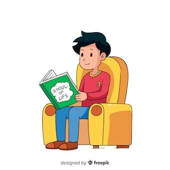 Młody człowiek czyta książkę