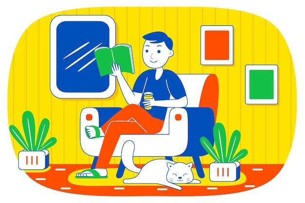 Młody człowiek czytanie książki.