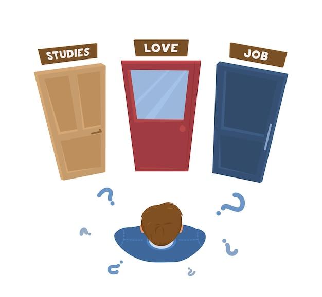 Młody człowiek dokonuje życiowych wyborów. mężczyzna stojący przed drzwiami ze znakami. koncepcja podejmowania decyzji. kreskówka