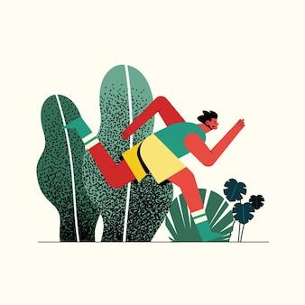 Młody człowiek działa na ilustracji postaci sportowca parku