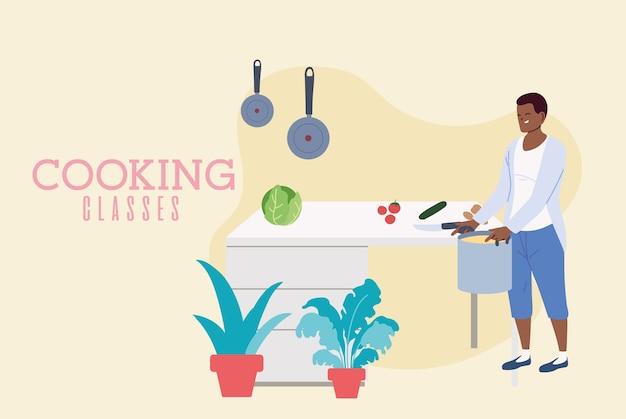 Młody człowiek gotuje pyszną zupę w projektowaniu ilustracji klas