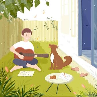 Młody człowiek gra na gitarze w ogrodzie