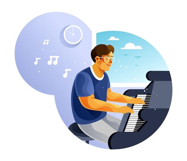 Młody człowiek gra na pianinie
