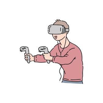 Młody człowiek gra w wirtualnej rzeczywistości zestaw słuchawkowy, trzymając joysticki