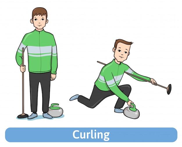 Młody człowiek, gracz w curlingu, na stojąco iw ruchu. sporty zimowe, aktywny wypoczynek. ilustracja na białym tle.