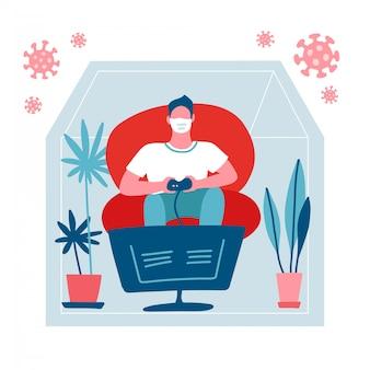 Młody człowiek, grając w gry wideo. facet bawi się kontrolerem konsoli do gier. męska postać w twarzy masce na kwarantannie domowej koronawirusa. covid-19 zewnętrzna sylwetka domu. na białym tle płaski ilustracja