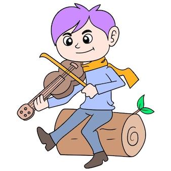 Młody człowiek grający muzykę skrzypcową siedzi na pniu drzewa, ilustracji wektorowych sztuki. doodle ikona obrazu kawaii.