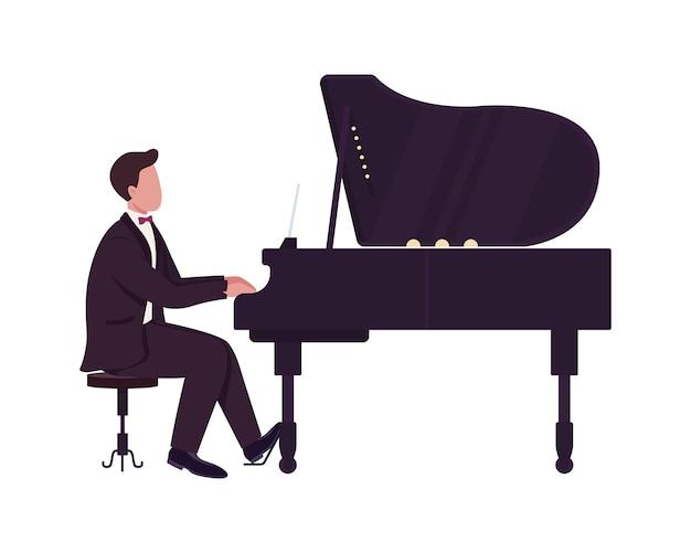 Młody człowiek grający na fortepianie pół płaski kolor wektor znaków