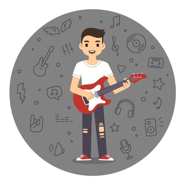 Młody człowiek grający na gitarze rockowej w stylu płaskiej kreskówki