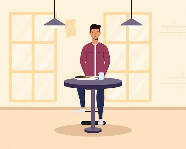 Młody człowiek jadł w restauracji charakter ilustracja projektu