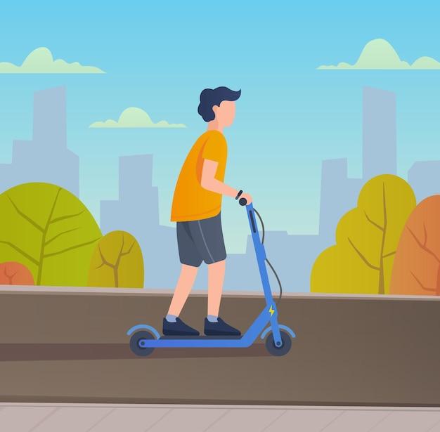 Młody człowiek jazda skuterem elektrycznym. ilustracja wektorowa