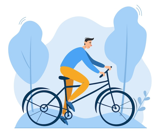 Młody człowiek jedzie na rowerze na świeżym powietrzu w parku przyjazny dla środowiska ekologicznie