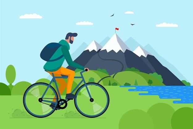 Młody człowiek jedzie na rowerze w górach. chłopiec rowerzysta turystyczny z plecakiem na podróż na rowerze w przyrodzie. męski rowerzysta aktywny wypoczynek na wzgórzu nad jeziorem i lasem. jazda na rowerze, wycieczka, wektor, eps, ilustracja