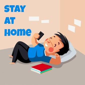 Młody człowiek jest relaksujący podczas pobytu w domu