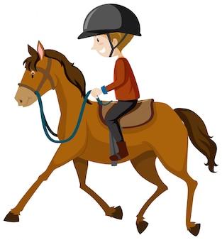 Młody człowiek jest ubranym hełm lub jeźdza jedzie końską kreskówkę odizolowywającą