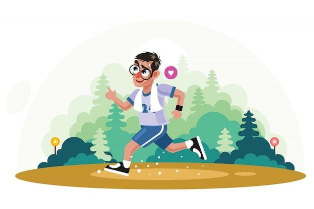 Młody człowiek jogging w parkowej wektorowej ilustraci