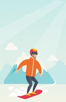 Młody człowiek kaukaski snowboard.