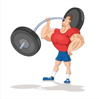 Młody człowiek, kulturysta, sztangista robi biceps, trenuje ramiona z ciężarkami